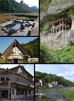 Clockwise from top left: Misasa Spa, Sanbutsu Temple in Mount Mitoku, Mitoku River, Place of Team Hall (Jinsho no Yakata in Japanese), Misasa Art Museum