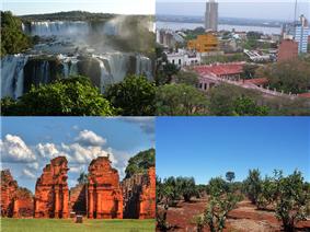 Clockwise from top: Iguazú Falls (Iguazú National Park), Posadas, Yerba Mate plantation, Guaraní Jesuit Mission of San Ignacio Miní.