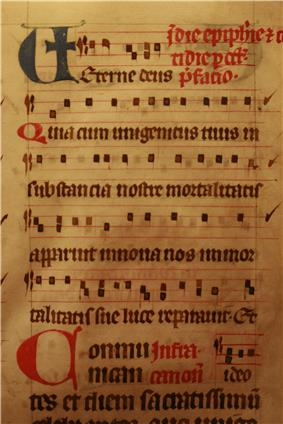 The missal of the Dominican covent of Lausanne, the oldest dominican missal currently known. Copied arouned 1240. 213 parchment sheets, binding of the 16th century. On display at the Historical Museum of Lausanne.