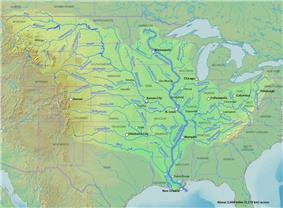 The Mississippi drainage basin includes the two longest main-stem rivers in the U.S. (the Missouri and the Mississippi) as well as 18 more of the rivers on this list.