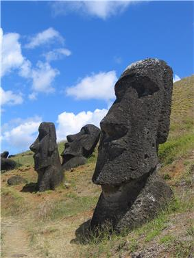 Statues of heads on Easter Island