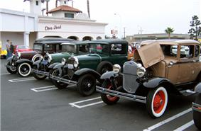 Ford Model A line-up at a car show in Huntington Beach, California.