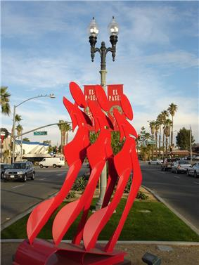 Modern art display on El Paseo's median.