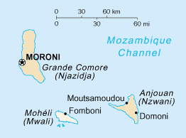The Comoros islands. Mohéli is the lowermost shown.