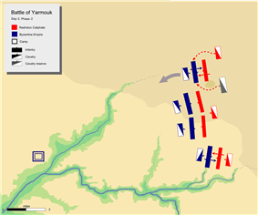 day-2 battle map phase2, showing khalid's flanking attack on Byzantine left flank with his mobile guard.