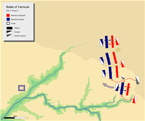 day-2 battle map phase 3, showing khalid's flanking attack on Byzantine right flank with his mobile guard.