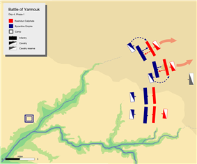 day 4 phase 1, showing Byzantine left center and wing pushing back respective Muslim divisions.