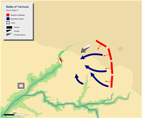 day 6 last phase, showing general retreat of Byzantine army towards Wadi-ur-Ruqqad.