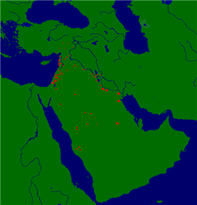 map detailing sites of khalid's campaigns