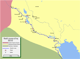 Map detailing the route of Khalid ibn Walid's conquest of Iraq