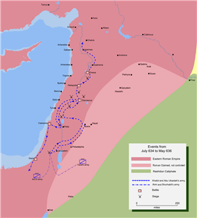 Map detailing the route of Khalid ibn Walid's invasion of Central Syria.
