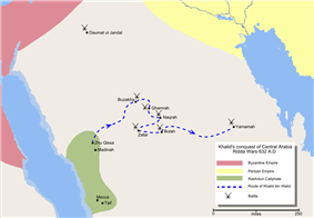 Map detailing the route of Khalid ibn Walid's conquest of Arabia.