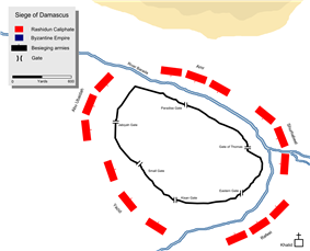 Muslim troop deployment (Red) during the siege of Damascus