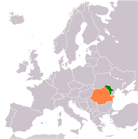 Map indicating locations of Moldova  and Romania