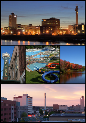 From top left: Moncton skyline at night, the Capitol Theatre, Magic Mountain Water Park, Centennial Park, and Downtown Moncton at dusk