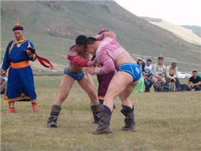 Traditional Naadam festival in Mongolia, near Ulan Bator