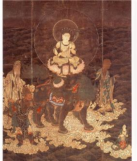 A deity seated cross-legged on a pedestal located on top of a lion-shaped animal surrounded by other figures in priest and warrior robes. The whole group rests on clouds over water.