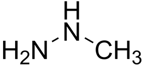 Skeletal formula of monomethylhydrazine with some implicit hydrogens shown