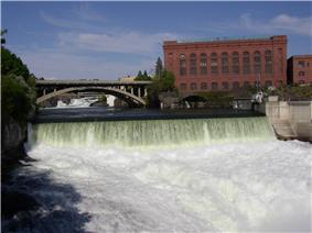 The Monroe Street Dam falls on the Spokane River