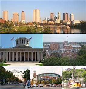 Images, from top left to right:  Statehouse Capitol Square, University Hall (Ohio State University), , , Santa Maria replica