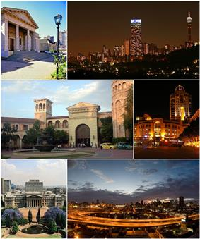 Clockwise, from top: Johannesburg Art Gallery, the Hillbrow skyline at night, Nelson Mandela Square in Sandton, Johannesburg CBD looking east over the M1 Freeway, the The University of the Witwatersrand's East Campus and Montecasino in Fourways.