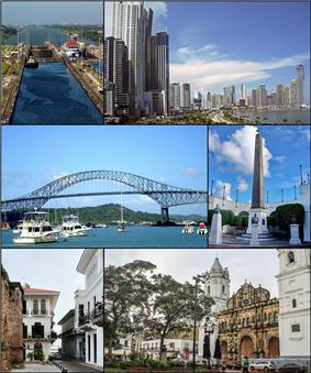Clockwise, from top: Panama Canal, Skyline, Bridge of the Americas, The bovedas, Casco Viejo of Panama and Metropolitan Cathedral of Panama.