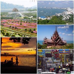 From left: Nong Nooch Garden, Pattaya sunset, Pattaya Beach, The Sanctuary of Truth, Walking Street