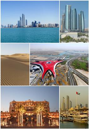 Clockwise, from top left: Skyline from Marina, Etihad Towers, Ferrari World, Skyline from Breakwaters Marina, Emirates Palace, Desert Ripples.