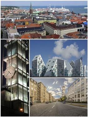 From top and left to right: Aarhus skyline, Aarhus City Hall, Isbjerget, Park Allé