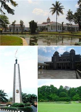 From top, clockwise : Bogor Palace, Great Mosque of Bogor, Bogor Botanical Garden, Kujang Monument