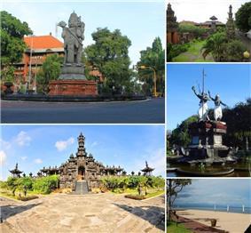 From top left, clockwise: Bajra Sandhi Monument, Catur Muka Statue, Sanur Beach, Monument in Puputan Square