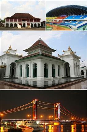 From top left, clockwise: Kemaro Island Pagoda, Benteng Kuto Besak, Gelora Sriwijaya Stadium, Grand Mosque of Palembang, Ampera Bridge.