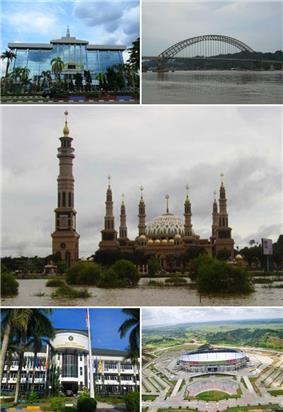 From top left, clockwise : East Kalimantan Governor Office, Mahakam Ulu Bridge, Samarinda Islamic Center, Palaran Stadium, Mulawarman University