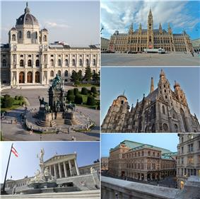 From top, left to right: Kunsthistorisches Museum, City Hall, St. Stephen's Cathedral, Vienna State Opera, and Austrian Parliament Building