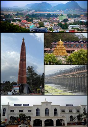 Clockwise from Top Left:Vijayawada City View, Kanakadurga Temple on Indrakeeladri, Prakasam Barrage, Vijayawada Junction Railway Station, VMC Pylon