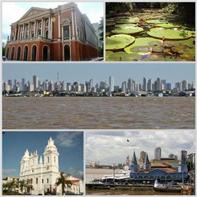 Top row left: Theatro da Paz and Vitória Régia, in Paraense Emílio Goeldi Museum.  Middle row: The city of Belem seen from the River Guama.  Bottom row left: Cathedral of Sé and Ver-o-Peso market.