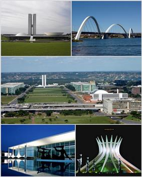From upper left: National Congress of the Federative Republic of Brazil, Juscelino Kubitschek bridge, Monumental Axis, Palácio da Alvorada and Cathedral of Brasília.