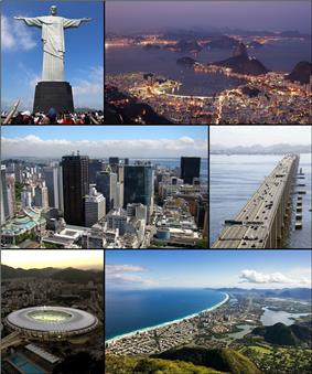 From the top, left to right: Christ the Redeemer, Botafogo's cove, Rio Downtown, Rio–Niterói bridge, Maracanã Stadium, and panoramic view of Barra da Tijuca