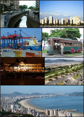 From top, left to right: Canal 4; skyline from the Bay of Santos; Port of Santos; tourist tram; Museu de Pesca; Beachfront Gardens; panoramic view from Morro do Voturuá.