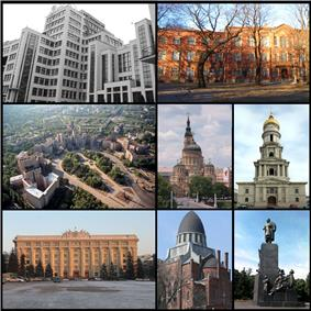Top left: Derzhprom, Top right: Kharkiv Polytechnic Institute, Middle left: Freedom Square, Middle centre: Annunciation Cathedral, Middle right: Assumption Cathedral, Bottom left: Kharkiv Oblast administration building, Bottom centre: Choral Synagogue, Bottom right: Taras Shevchenko Monument