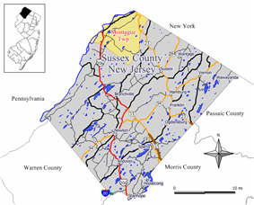 Map of Montague Township in Sussex County. Inset: Location of Sussex County highlighted in the State of New Jersey.