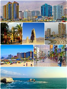 Montage of Antofagasta, Top:View of downtown Antofagasta, 2nd left:Antofagasta Clock Tower in Colón Square, 2nd middle: