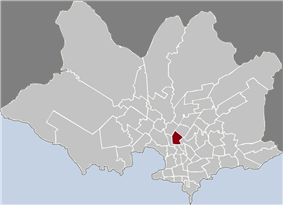 Map of Montevideo highlighting the barrio