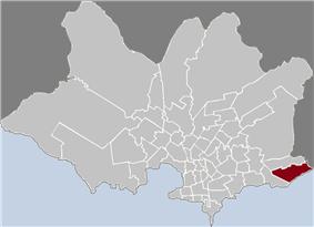 Location of Carrasco in Montevideo