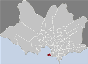 Location of Ciudad Vieja in Montevideo