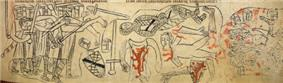 Photograph of a 13th-century representation of the death of Simon de Montfort