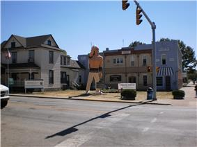 Small town with indian statue