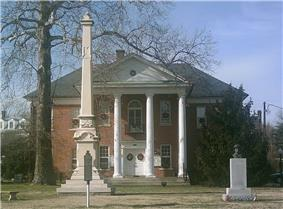 Courthouse in Montross, with historic marker in foreground