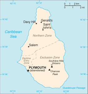 Location of Plymouth within Montserrat