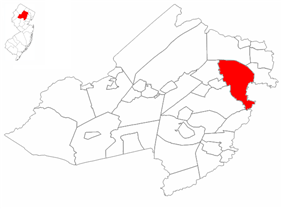 Montville Township highlighted in Morris County. Inset map: Morris County highlighted in the State of New Jersey.